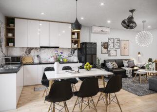 Cách để kết hợp nội thất phòng khách liền kề phòng bếp