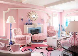 Màu hồng cho không gian phòng khách trở nên thú vị hơn